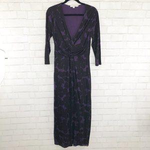 Boden Purple & Plum Faux Wrap Maxi Dress, Size 8R